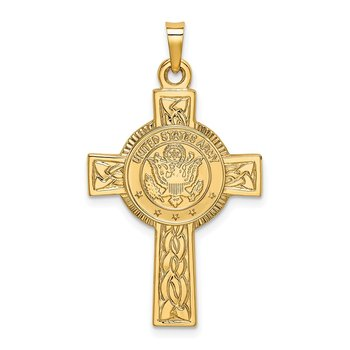14k Army Insignia Cross Pendant