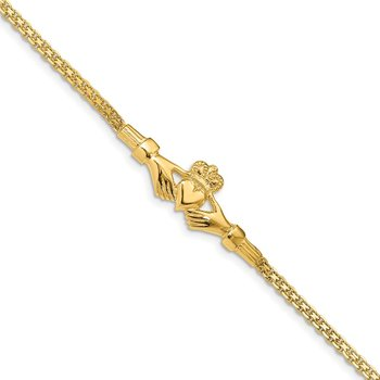 14K Polished Claddagh Bracelet