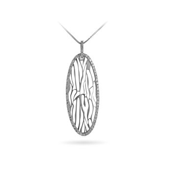14K WG Diamond Laser Fashion Pendant