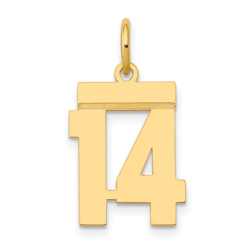 Quality Gold 14k Small Polished Number 14 Charm