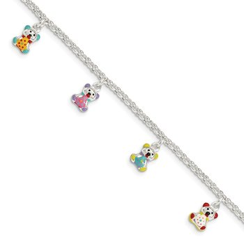 Sterling Silver Enameled Childrens 5in Plus 1in ext Charm Bracelet