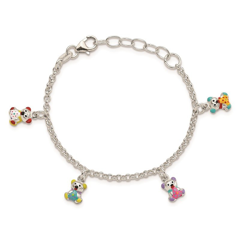 Quality Gold Sterling Silver Enameled Childrens 5in Plus 1in ext Charm Bracelet