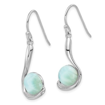 Sterling Silver Rhodium-plated Larimar Swirl Dangle Earrings