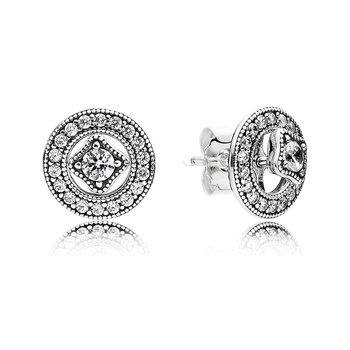 Vintage Allure Stud Earrings, Clear CZ