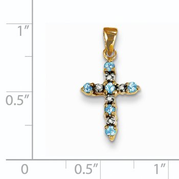 14k Blue Topaz and Diamond Cross Pendant