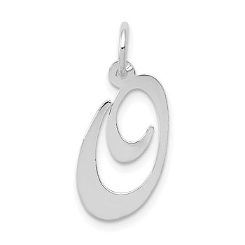 14K White Gold Medium Fancy Script Letter O Initial Charm