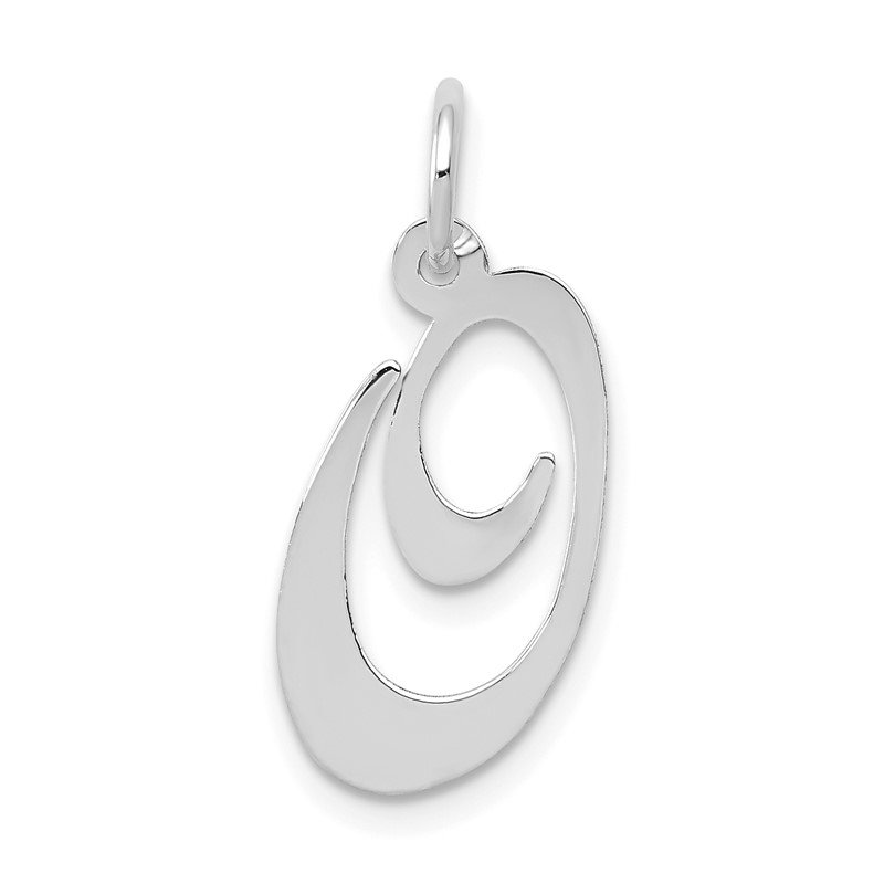 Quality Gold 14K White Gold Medium Fancy Script Letter O Initial Charm