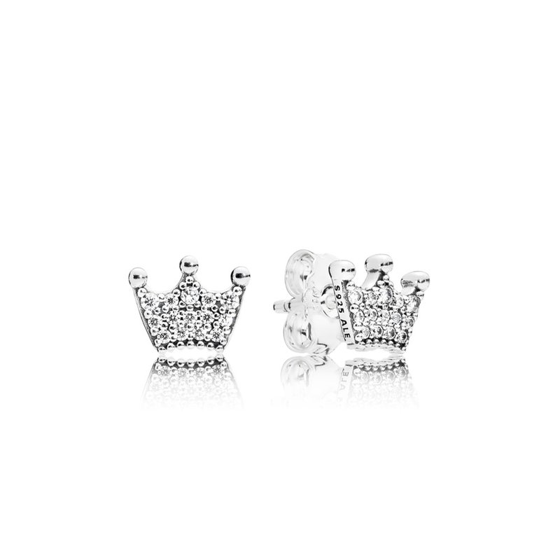 PANDORA Enchanted Crowns Stud Earrings, Clear Cz