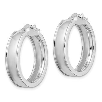 Sterling Silver Rhodium-plated Polished Beveled Edge 6mm Hoops