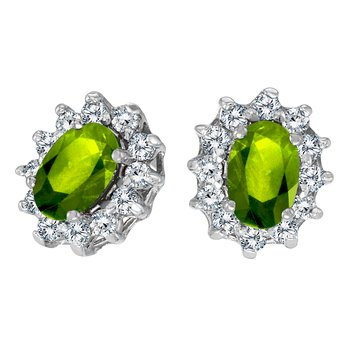 14k White Gold Oval Peridot and .25 total ct Diamond Earrings