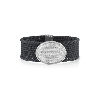 Black Cable Shimmer Bracelet with Large Round Diamond Station & 18kt White Gold
