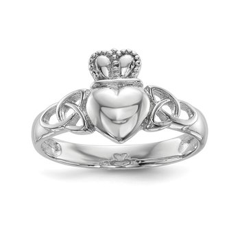 Sterling Silver Rhodium-plated Polished Claddagh Ring