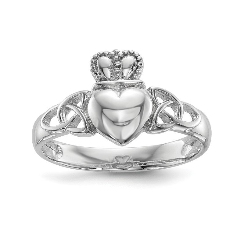 Quality Gold Sterling Silver Rhodium-plated Polished Claddagh Ring