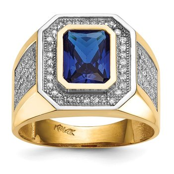 14k w/ Rhodium CZ & Emerald-cut Blue CZ Mens Ring