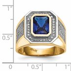 Quality Gold 14k w/ Rhodium CZ & Emerald-cut Blue CZ Mens Ring