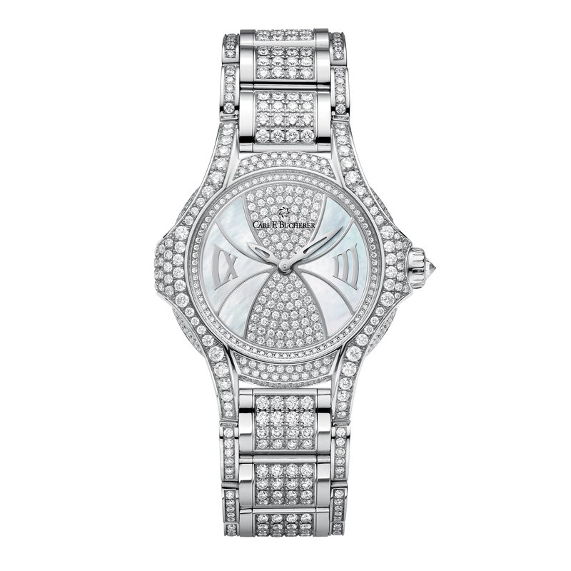 Carl F. Bucherer Pathos Diva 18KWG 12.5ctw Diamond and Mother of Pearl Womens Watch