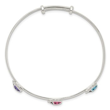 Sterling Silver Polished Enamel Ladybug Childs Adjustable Bangle