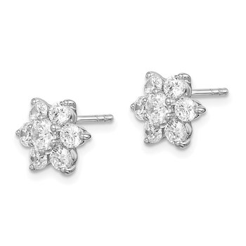 Sterling Silver Rhodium Plated CZ Post Flower Earrings