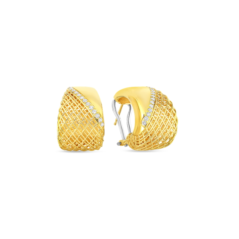 Roberto Coin  #28484 Of 18Kt Gold Flat Edge Tapered Earrings With Diamonds