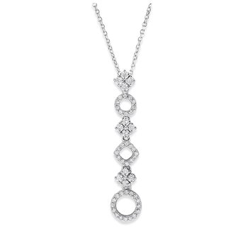 Diamond Geometric Necklace in 14K White Gold with 50 Diamonds Weighing .33 ct tw