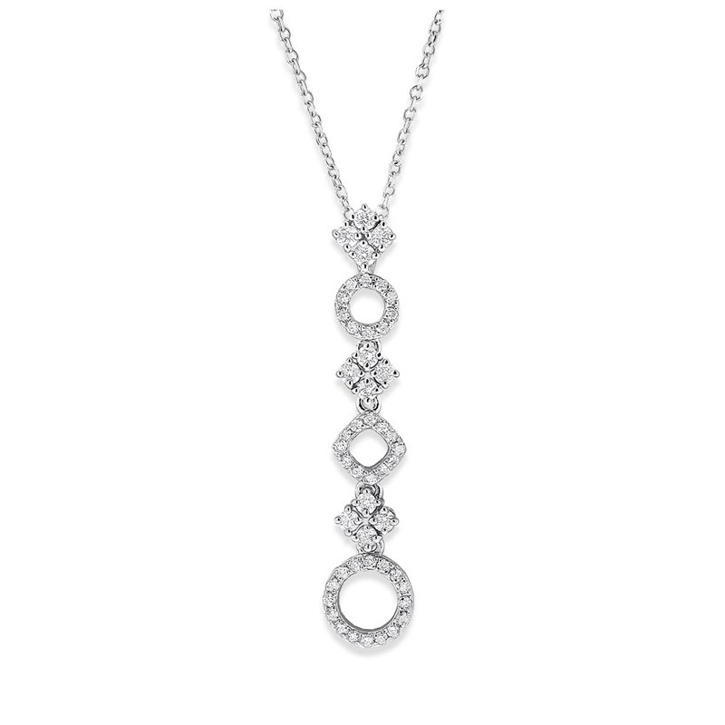 Everyday Diamonds by MAZZARESE Diamond Geometric Necklace in 14K White Gold with 50 Diamonds Weighing .33 ct tw