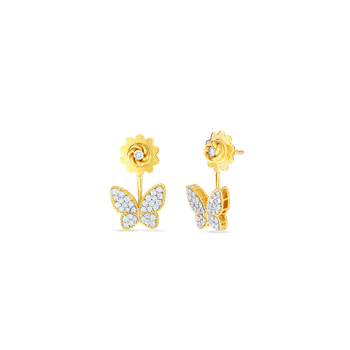 18Kt Gold Butterfly Earrings With Diamonds