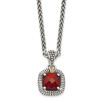 Sterling Silver w/14ky Garnet Necklace