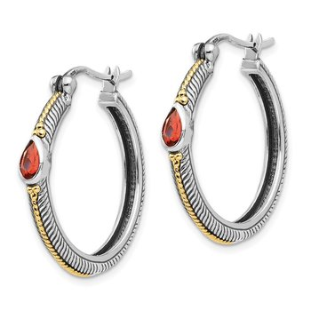 Sterling Silver w/ 14k Garnet Hinged Hoop Earrings