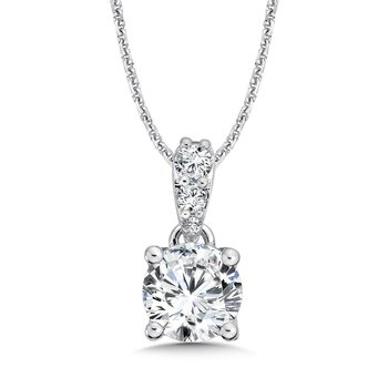 Diamond Solitaire Pendant with Diamond Bale in 14K White Gold (2 ct. tw.)