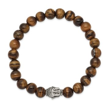 Stainless Steel Antiqued & Polished Tiger's Eye Buddha Stretch Bracelet