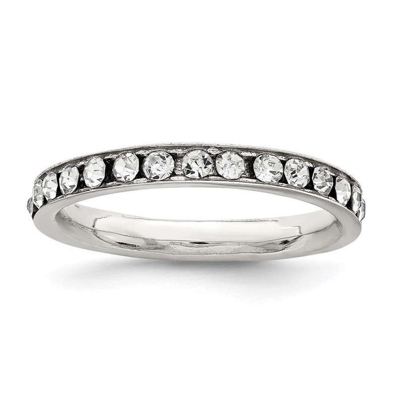Quality Gold Sterling Silver Rhodium-plated Crystal Eternity Band