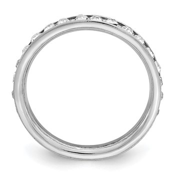 Sterling Silver Rhodium-plated Crystal Eternity Band
