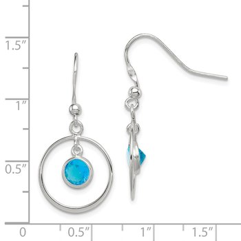 Sterling Silver Circle Dangle Blue CZ Earrings