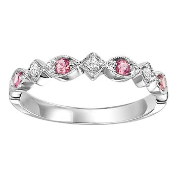 10K Pink Tourmaline & Diamond Mixable Rings
