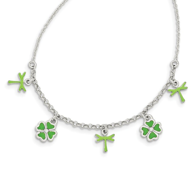 Arizona Diamond Center Collection Sterling Silver Enamel 4 Leaf Clover Childs Necklace