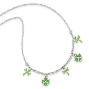 Sterling Silver Enamel 4 Leaf Clover Childs Necklace