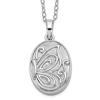 Sterling Silver Butterfly Ash Holder 18in Necklace