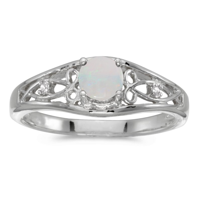 Color Merchants 14k White Gold Round Opal And Diamond Ring