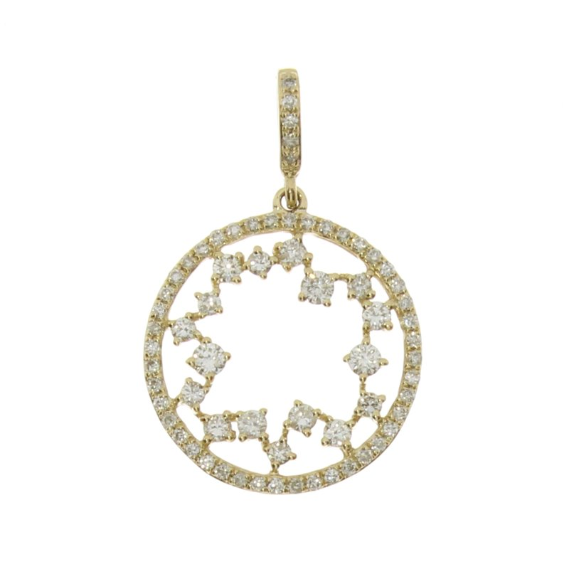 Color Merchants 14k Yellow Gold Starburst Diamond Fashion Pendant