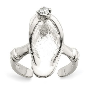 Sterling Silver Sandal CZ Toe Ring