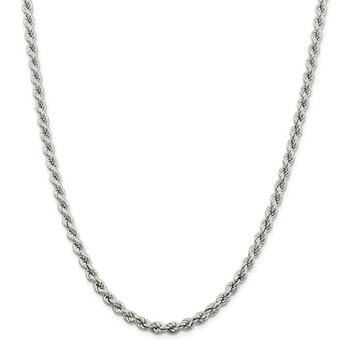 Sterling Silver 5.3mm Semi-solid Rope Chain