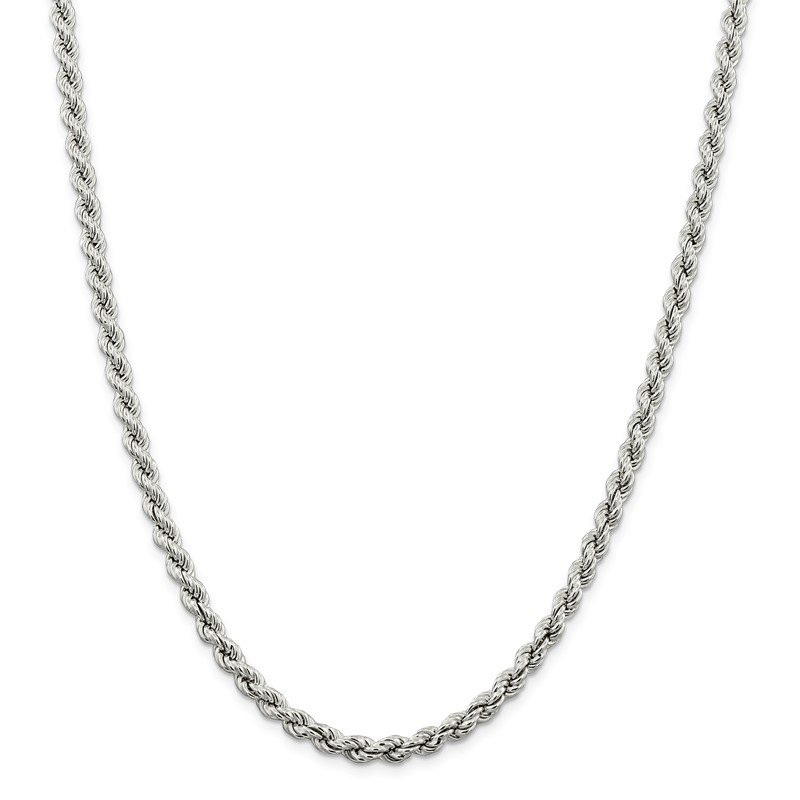 Quality Gold Sterling Silver 5.3mm Semi-solid Rope Chain
