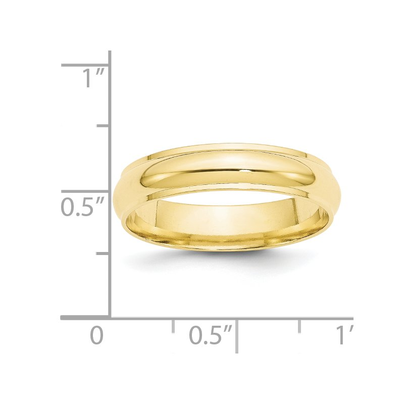 Quality Gold 10KY 5mm Half Round with Edge Band Size 10