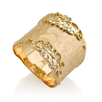 14K-Y FILIGREE CUFF RING, 0.06CT