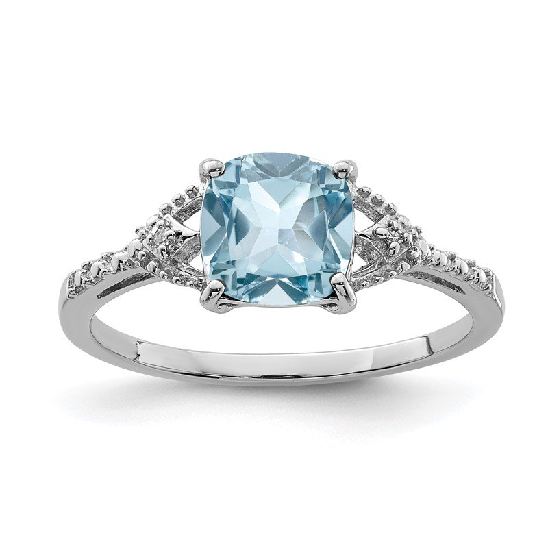 Quality Gold Sterling Silver Rhodium Plated Diamond and Sky Blue Topaz Ring