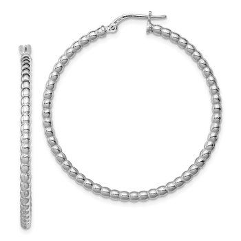 Sterling Silver Rhodium-plated Beaded 3x35mm Hoop Earrings