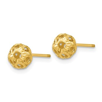 14K Open Diamond Cut Ball Post Earrings