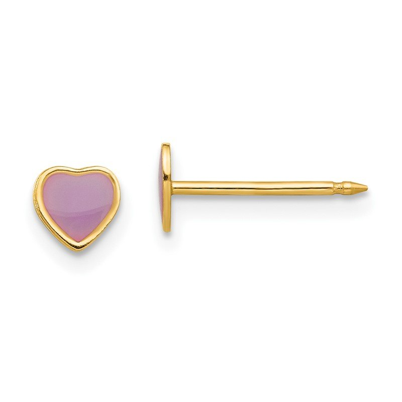 Quality Gold Inverness 14k Epoxy Fill Purple Heart Earrings