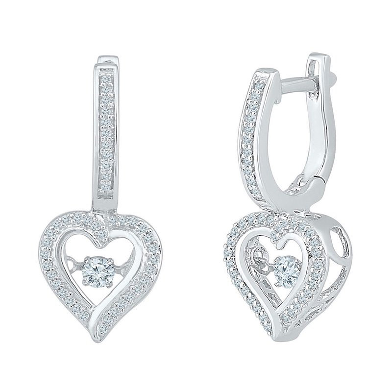 Kingdom Treasures 10kt White Gold Womens Round Diamond Heart Dangle Hoop Earrings 1/4 Cttw