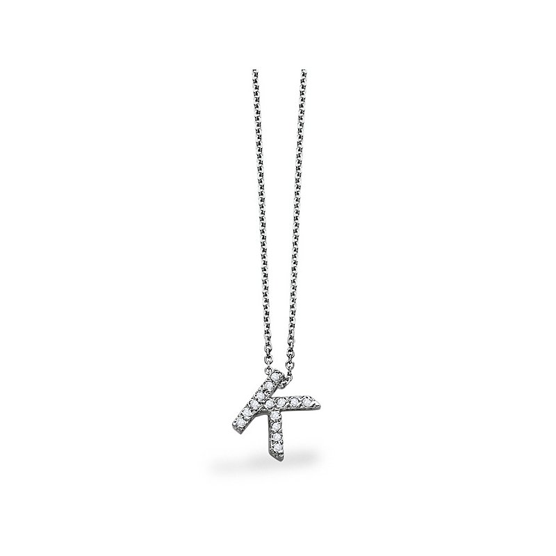 "KC Designs Diamond Block Initial ""K"" Necklace in 14k White Gold with 14 Diamonds weighing .11ct tw."